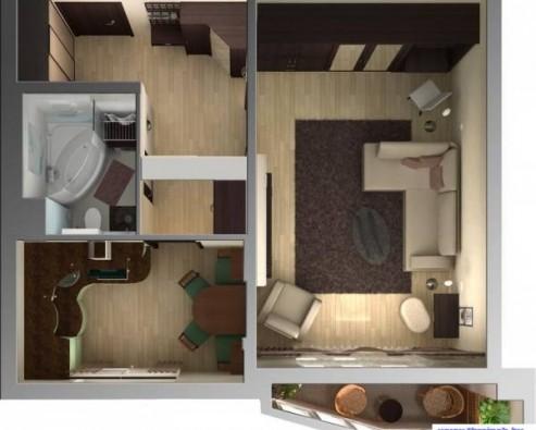 Дизайн и планировка однокомнатной квартиры