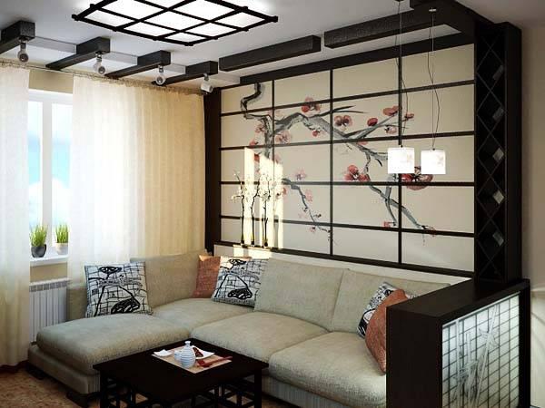 Зал в японском стиле фото